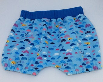 Baby bloomers-Baby boy bloomers-Blue bloomers -Sealife print bloomers-0-3 months bloomers