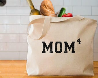 MOM4 tote bag mother of 4 tote bag gift for mom of 4 kids gift for wife mom to the 4th power tote bag