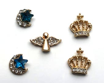 5 PC Gold Tone Crown Assortment Misc  Alloy DIY Jewelry Making Supplies Rhinestone GT2518