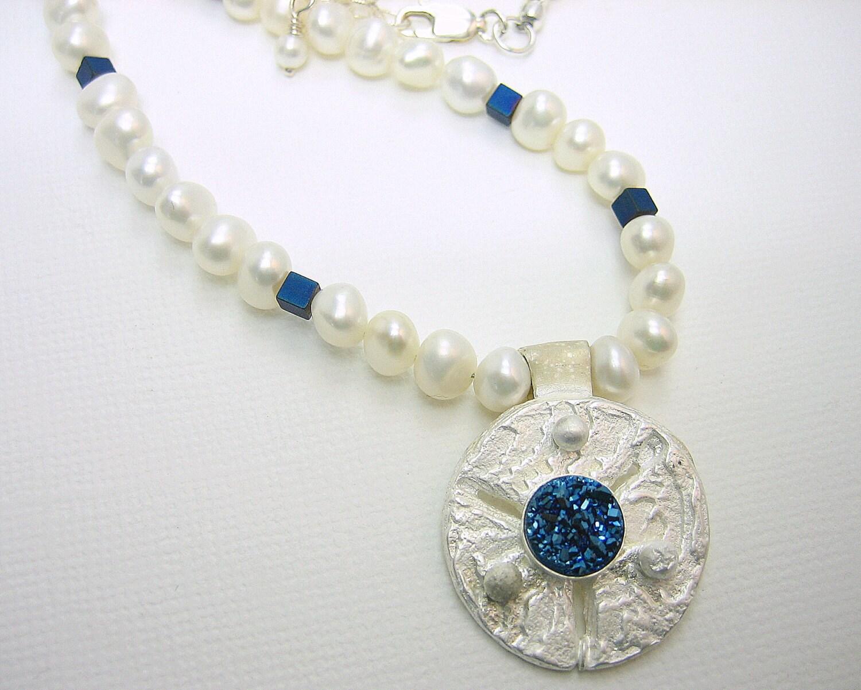 Blue druzy quartz on unique sea coin silver pendant with fresh water pearls, silver sea sponge inspired pendant, sea dollar silver necklace