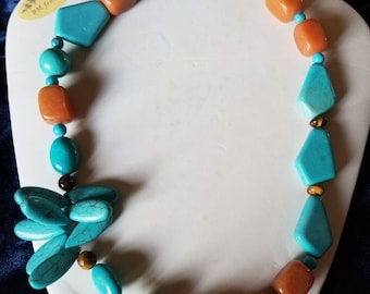 Carnelio and silver turquoise Natural stone Necklace