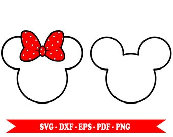 Minnie Mouse svg, Mickey Mouse svg, clip art outline svg, in svg format, eps,dxf, png, pdf. For Silhouette Cameo, Cricut, vinyl, embroidery