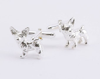 Chihuahua 3D Sterling Silver Cufflinks