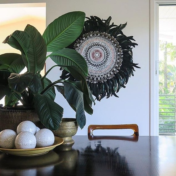 Tribal Retro Mandala Black White Feathers Round Wall Art, White black Boho Design,  Timber Porthole