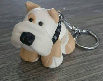 Bulldog dog polymer clay keychain
