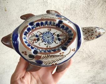 Tonala Turtle Ashtray, Mexican Pottery Tortoise, Turtle Folk Art, Turtle Gifts for Smoker, Pot Smoker Gift, Hippie Gift, Tonala Pottery
