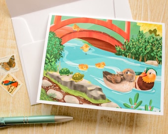 Mandarin Ducks, Ducklings, Bird Greeting Card, Blank Card - Cute Card - Animal Card - Just Because - Any Occasion - Illustrated