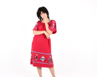 80s Vintage Guatemalan Gauze Bright Red Cotton Folk Midi Tee Loose Cotton Smock Dress w/ Little Embroidered People!