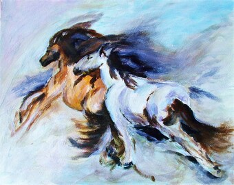 Painting in acrylic ' galloping '