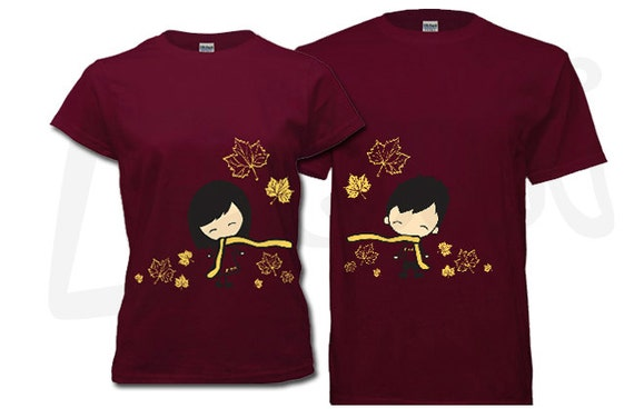 Couple t shirt his and hers fall scarf maple leaves maroon