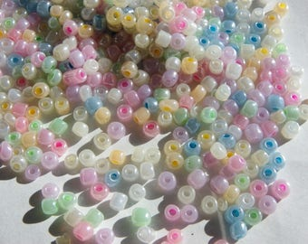 approximately 200 beads 4 mm multicolre beads blue white pink seed beads