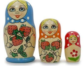"4"" Set of 3 Red Strawberries Light Blue Matryoshka Russian Nesting Dolls"