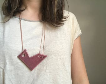 Dusty Rose Geometric Necklace with Waxed Cotton Cord