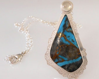 Freeform Turquoise Cabochon with Moonstone Bezel Set Pendant