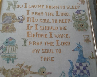 "Vintage ""Now You Lay Me Down To Sleep/Cats/Elephant/ Kangaroo/ Ducks/Owl/Cross Stitch"