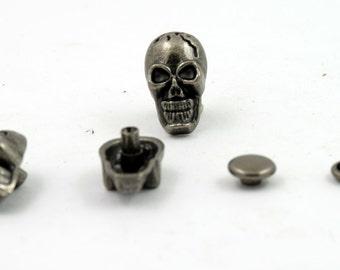 10 pcs Gunmetal Skull Head Rivet Stud Buttons Leathercraft Decorations 10x18 mm. SK RGun 1018