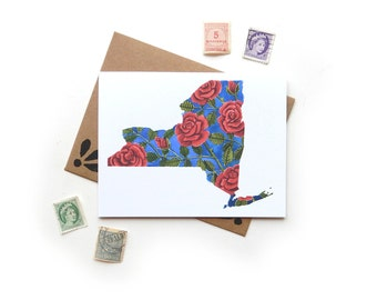 New York Rose Watercolor Card | Watercolor State Flower Illustration A2