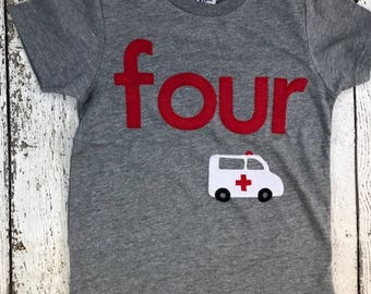 Ambulance party, Ambulance shirt, Emergency vehicles, Ambulance, Police car, firefighter, boys birthday shirt, custom birthday shirt