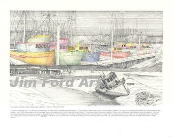 Historical Ink Drawing of Fishing Boats in Bodega Bay, California