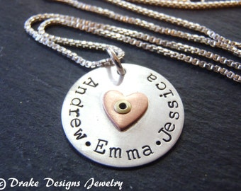 Sterling silver mom necklace with childrens names and Valentine's heart. personalized mom gift