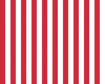 """Riley Blake 1/2"""" Narrow Stripes, White and Red, fabric by the yard"""