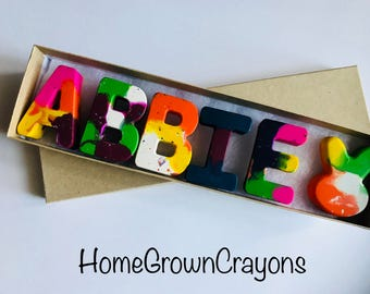 SALE! Gift NAME Crayons for Kids // Easter Kids Crayon Set Gift // Personalized Alphabet Rainbow Crayons // Birthday Gift //Easter Basket