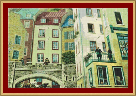 Quebec Old Town III Cross Stitch Pattern /Digital PDF Files /Instant downloadable