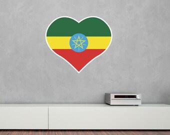 Heart Shaped National Flag of Ethiopia Vinyl Wall Art