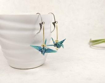 Boucles d'oreilles turquoise | Grue japonaise | bijou d'été | Origami par Ökibo