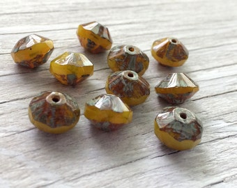 Czech glass saucer beads yellow opalite picasso 7x11mm 10