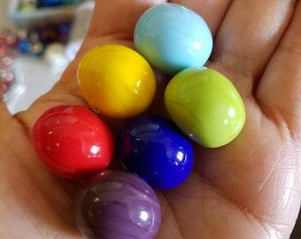 Hollow Lampwork glass bead set. 6pc Hollow bead,