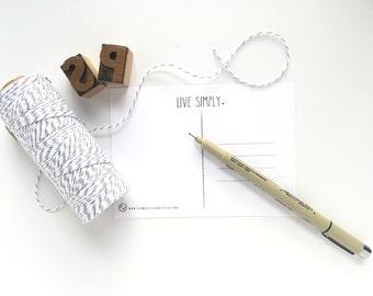 Live Simply Postcard -- Adventure, Minimalist, Home, Travel Postcard -- CHOOSE YOUR QUANTITY
