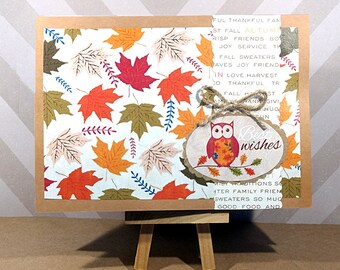 SALE Best Wishes Owl Card - Best Wishes Card - Autumn Greeting Card - Fall Greeting Card - Blank Greeting Card - Handmade Card with Envelope