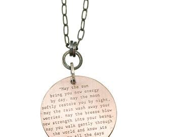 Apache Blessing Pendant, Apache Blessing necklace, native american prayer, native american blessing, nature blessing, tiny blessing