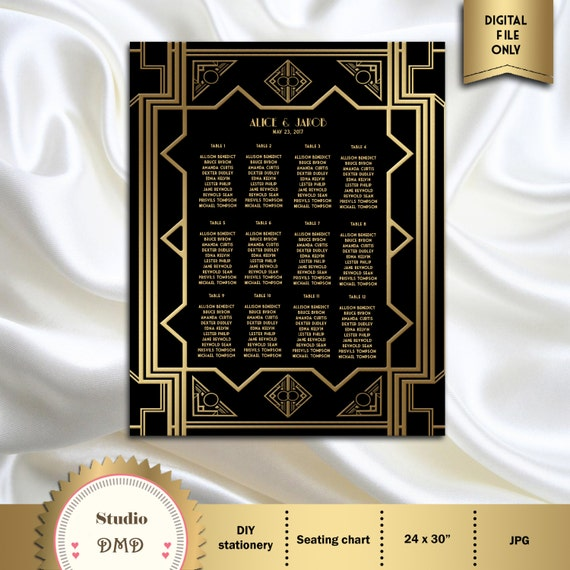 Printable Wedding Guest Seating Chart Seating List Art Deco