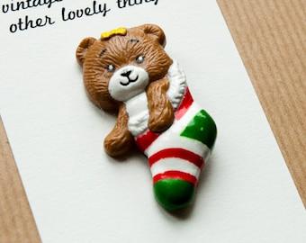 Christmas Bear Brooch Stocking Xmas Pin