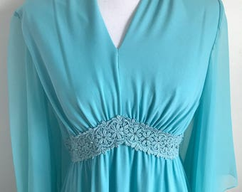 Vintage Aqua Blue Maxi Dress. Mint!!