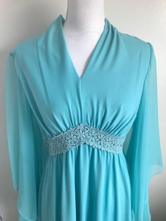 Vintage Aqua Blue Maxi Dress. Mint!!