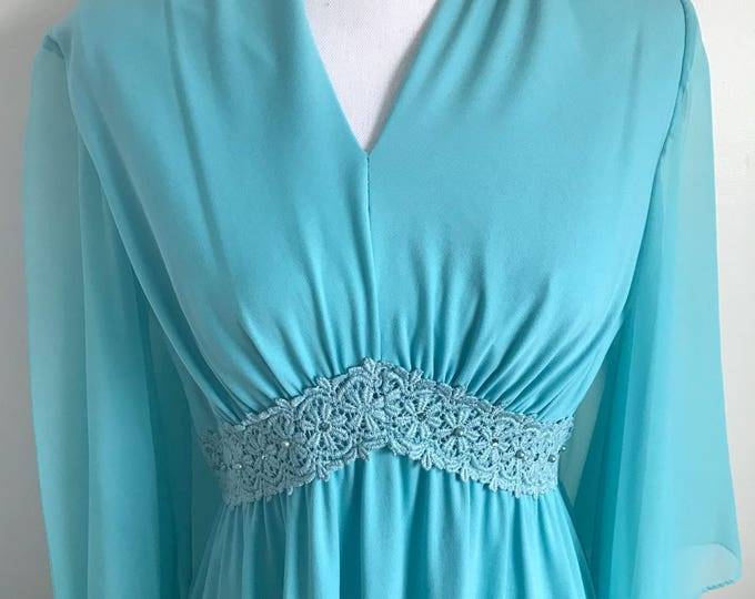 Featured listing image: Vintage Aqua Blue Maxi Dress. Mint!!