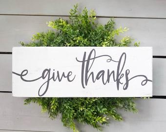 Give Thanks Sign, Give Thanks Wood Sign, Give Thanks, Farmhouse Fall Décor, Farmhouse Fall Sign, Cottage Fall Décor, Cottage Farmhouse Décor
