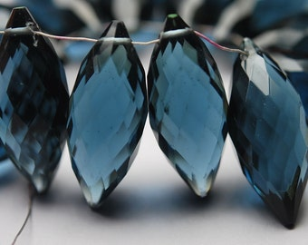 New Arrival,10 Pcs,Superb-Finest Quality,London Blue Quartz Faceted Dew Drops Shape Briolettes,20mm size,