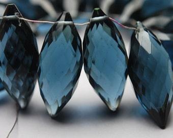 New Arrival,5 Pcs,Superb-Finest Quality,London Blue Quartz Faceted Onion Shape Briolettes,15mm size,