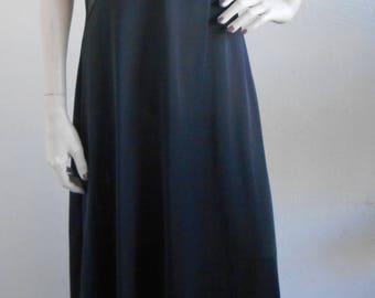Vintage Black Negligee Nightgown Kayser Medium Sheer Bodice Enkalure Nylon