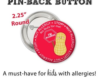 Allergy Alert Button • Nut Allergy Pin • Allergy Alert • Diaper Bag Pin • Nut Allergy Button • Allergy Warning Button