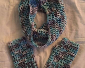 Hand Crochet Cowl with Fingerless Gloves Set Icelandic blue brown white mix