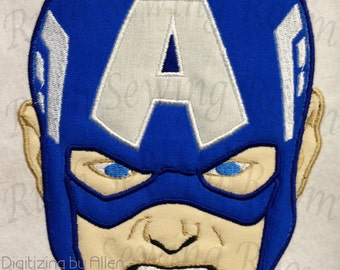 Captain America Face Applique, Avenger Applique Embroidery Design This is NOT a PATCH!