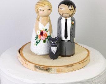 Rustic Cake Topper - Cake Topper With Pet - Peg Doll Cake Topper - Custom Wedding Gift - Wedding Heirloom - Wedding Keepsake - Wedding Decor