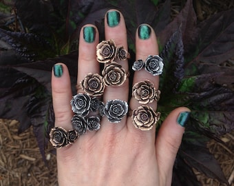 Bronze DOUBLE Rose Ring - ADJUSTABLE - made by Jamie Spinello