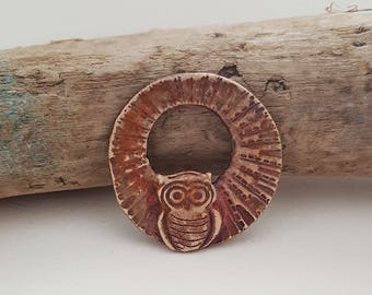 Owl be Seeing You - Handmade Bronze metal clay donut pendant