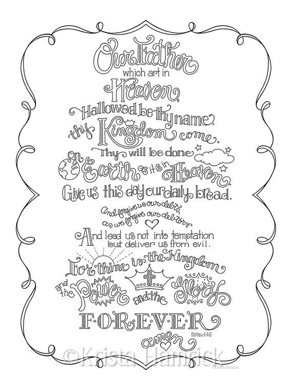 The Lord's Prayer coloring page in three sizes: 8.5X11